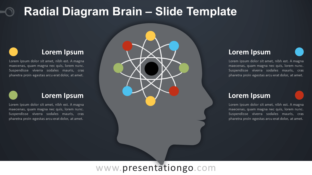 Free Radial Diagram with Orbits Brain for PowerPoint and Google Slides