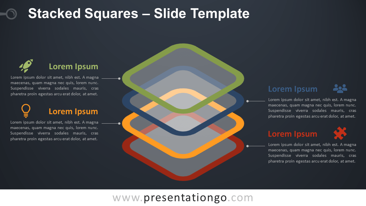 Free Stacked Squares Diagram for PowerPoint