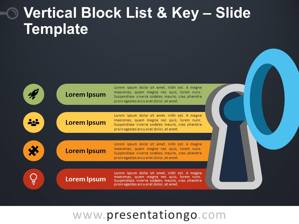 Free Vertical Block List, Key and Door Lock for PowerPoint