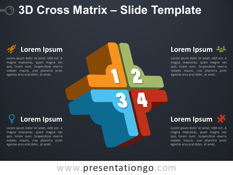 Free 3D Cross Matrix Infographic for PowerPoint
