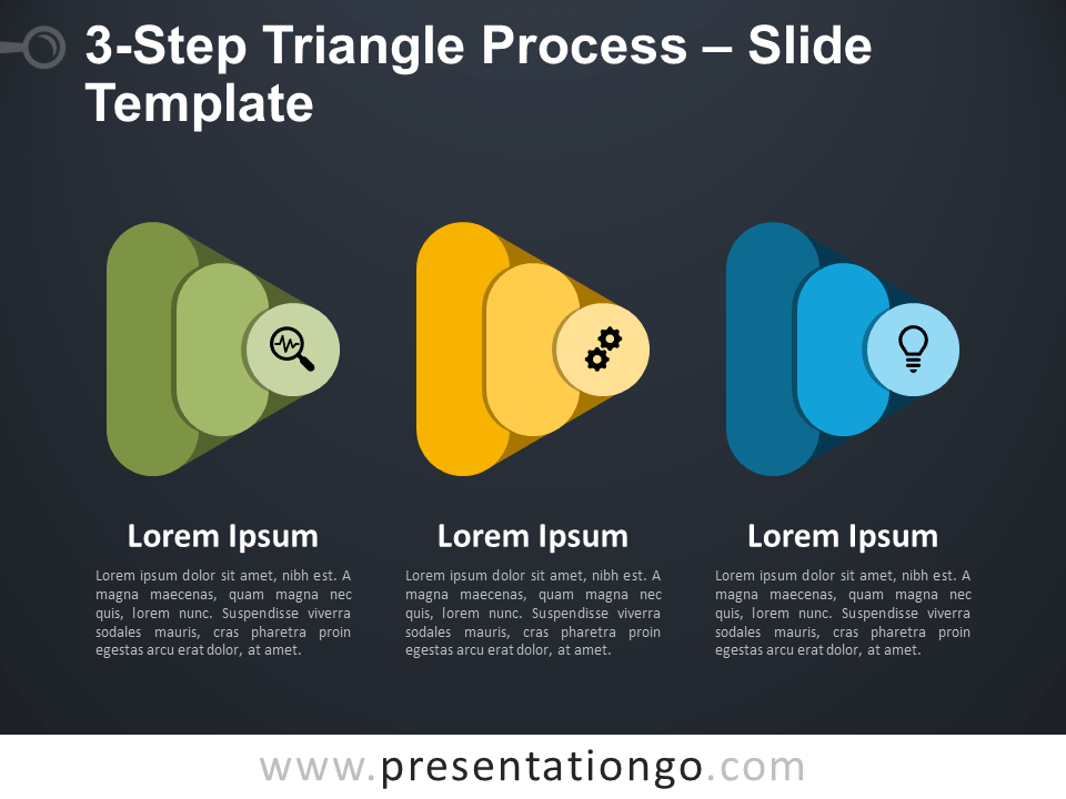 Free 3-Step Triangle Process Infographic for PowerPoint