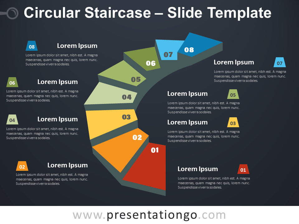 Free Circular Staircase Infographic for PowerPoint