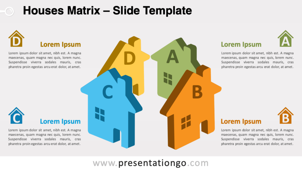 Free Houses Matrix for PowerPoint and Google Slides