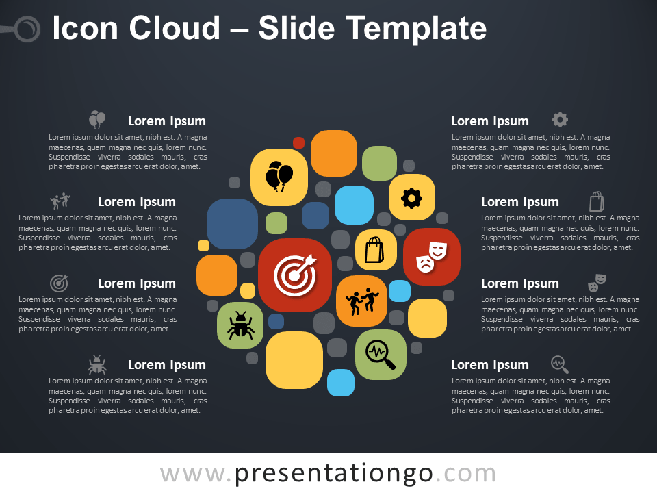 Free Icon Cloud Infographic for PowerPoint