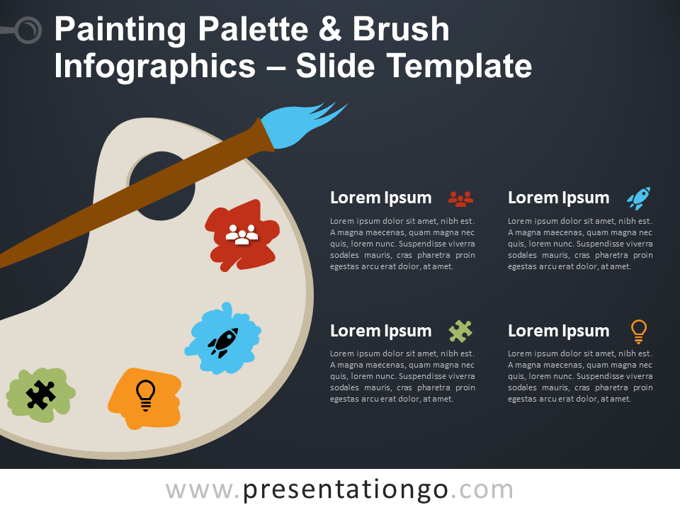 Free Painting Palette Brush Infographic for PowerPoint