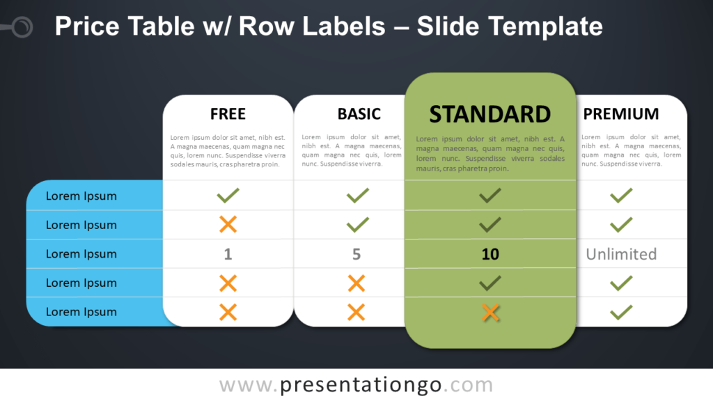 Free Price Table Row Labels Design for PowerPoint and Google Slides
