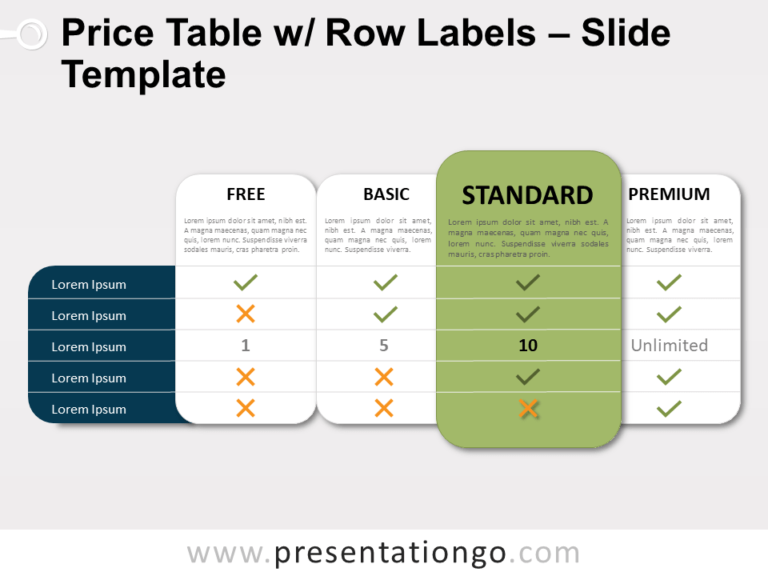 Free Price Table Row Labels for PowerPoint