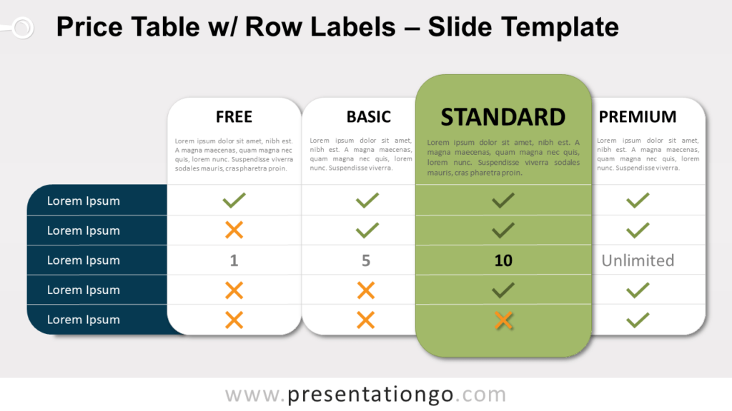 Free Price Table Row Labels for PowerPoint and Google Slides