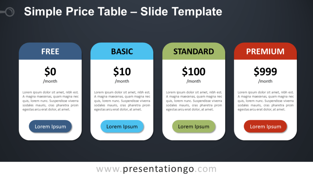 Free Simple Price Table Design for PowerPoint and Google Slides