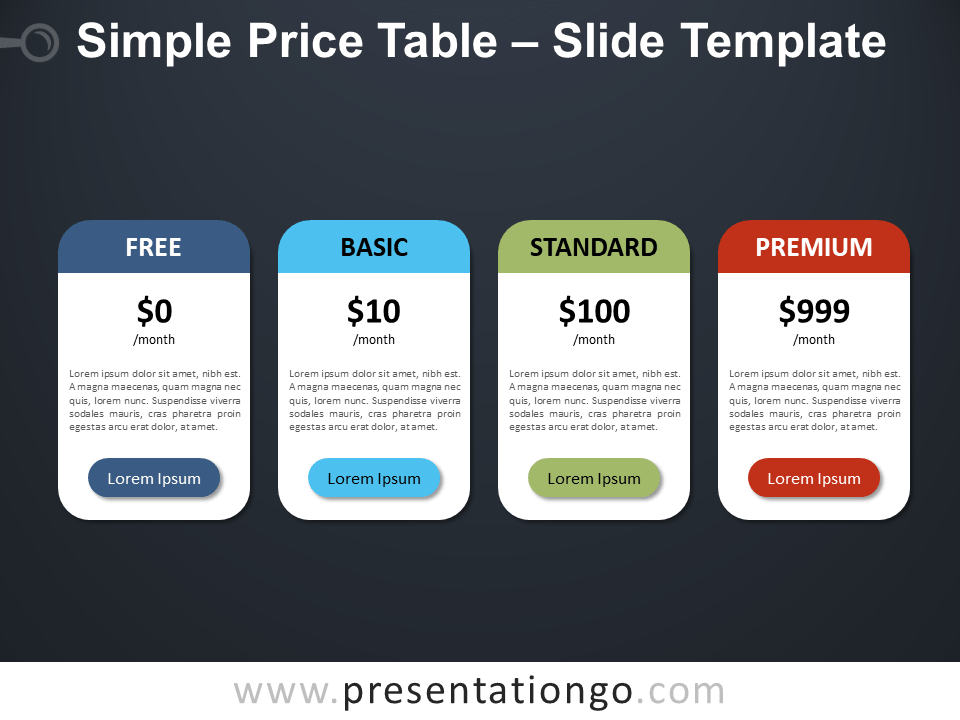 Free Simple Price Table Design for PowerPoint
