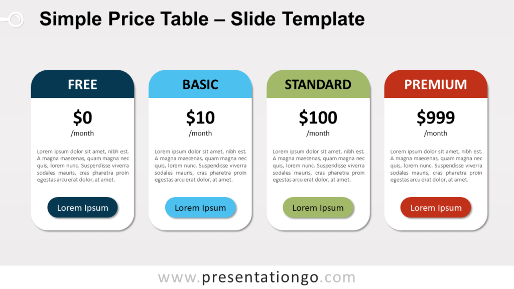 Free Simple Price Table for PowerPoint and Google Slides
