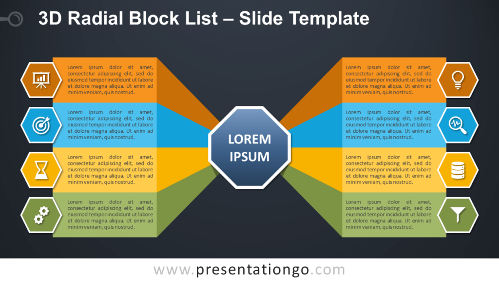 Free 3D Radial Block List Infographic for PowerPoint and Google Slides