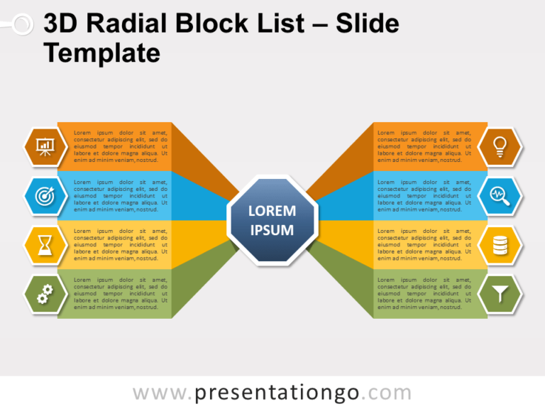 Free 3D Radial Block List for PowerPoint