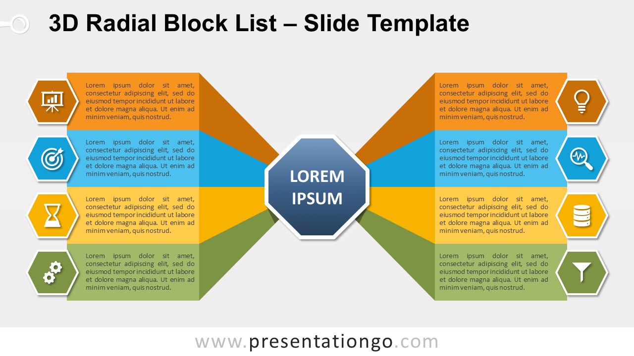 Free 3D Radial Block List for PowerPoint and Google Slides