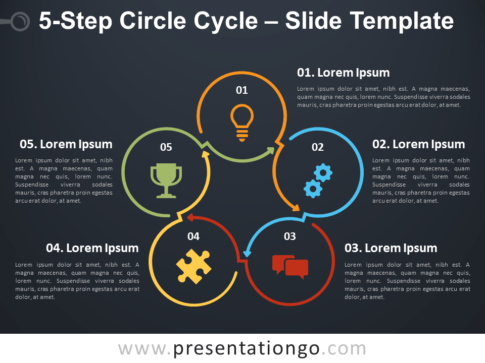 Free 5 Step Circle Cycle Infographic for PowerPoint