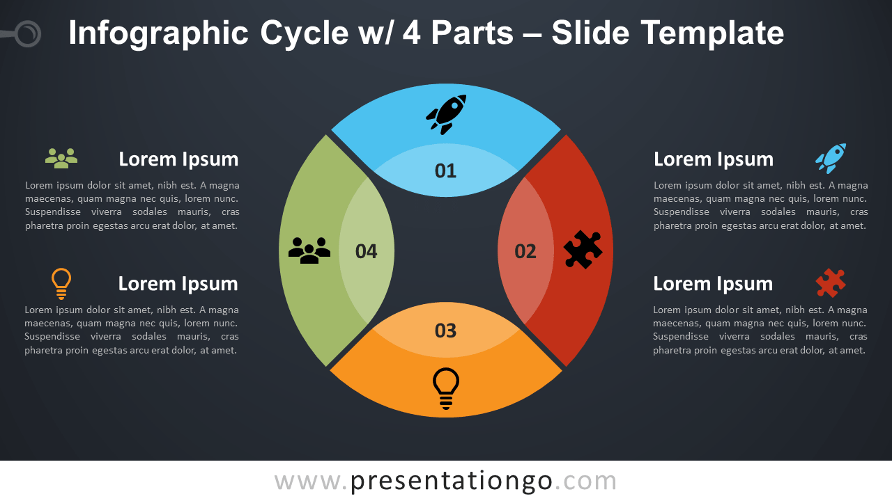 Free Cycle 4 Parts Infographic for PowerPoint and Google Slides