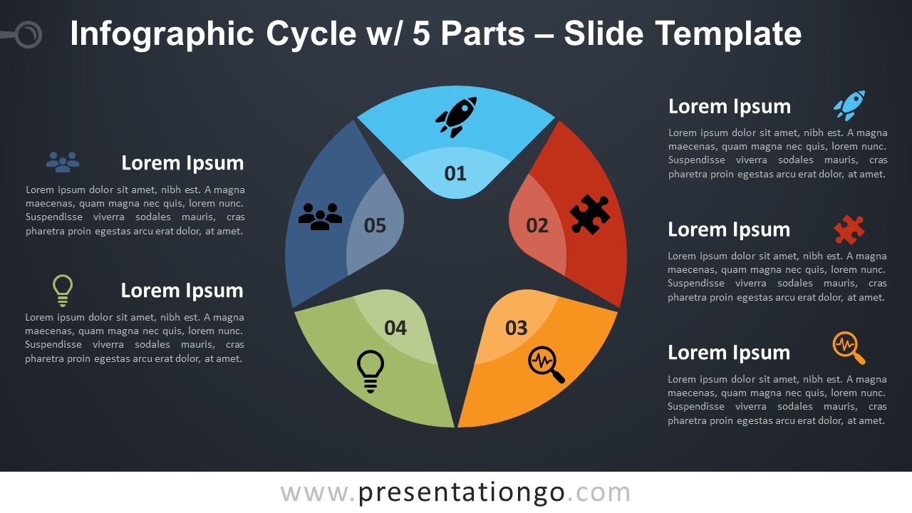 Free Cycle with 5 Parts Infographic for PowerPoint and Google Slides
