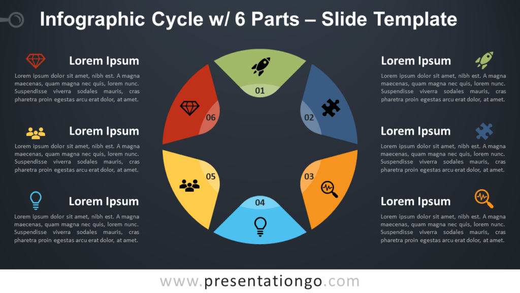 Free Cycle 6 Parts Infographic for PowerPoint and Google Slides