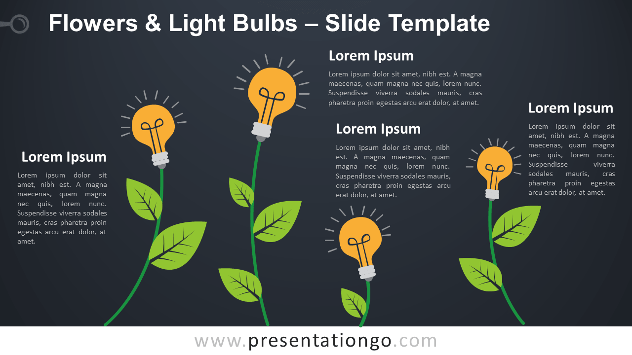 Free Flowers Light Bulbs Infographic for PowerPoint and Google Slides