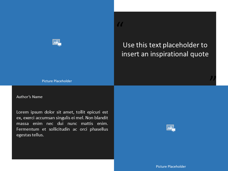 Free Gray Frame Template for Powerpoint - Quote Placeholders