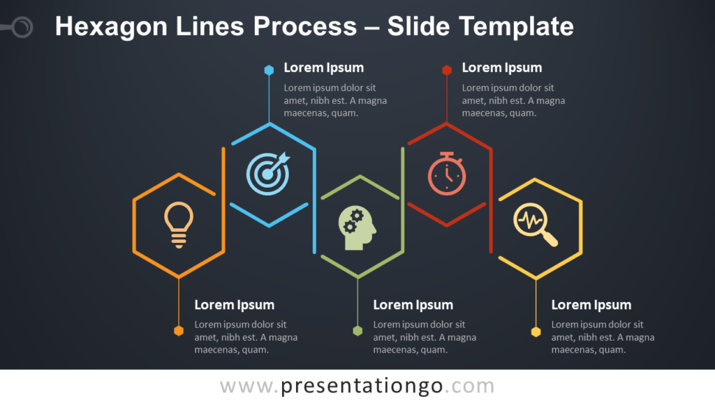 Free Hexagon Lines Process Infographic for PowerPoint and Google Slides