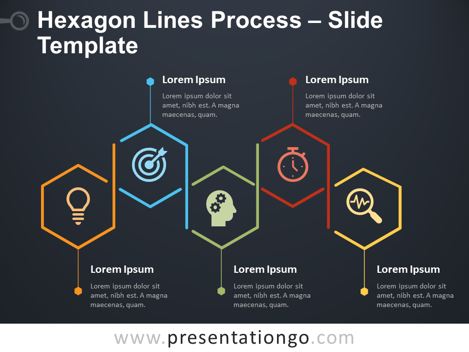 Free Hexagon Lines Process Infographic for PowerPoint