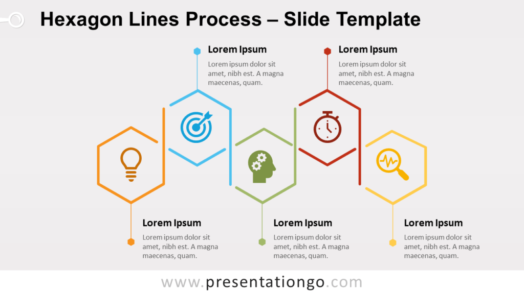 Free Hexagon Lines Process for PowerPoint and Google Slides