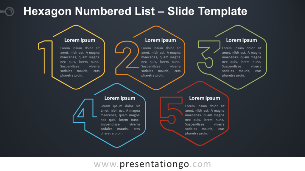 Free Hexagon Numbered List Infographic for PowerPoint and Google Slides