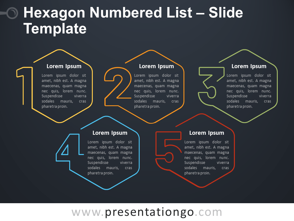 Free Hexagon Numbered List Infographic for PowerPoint