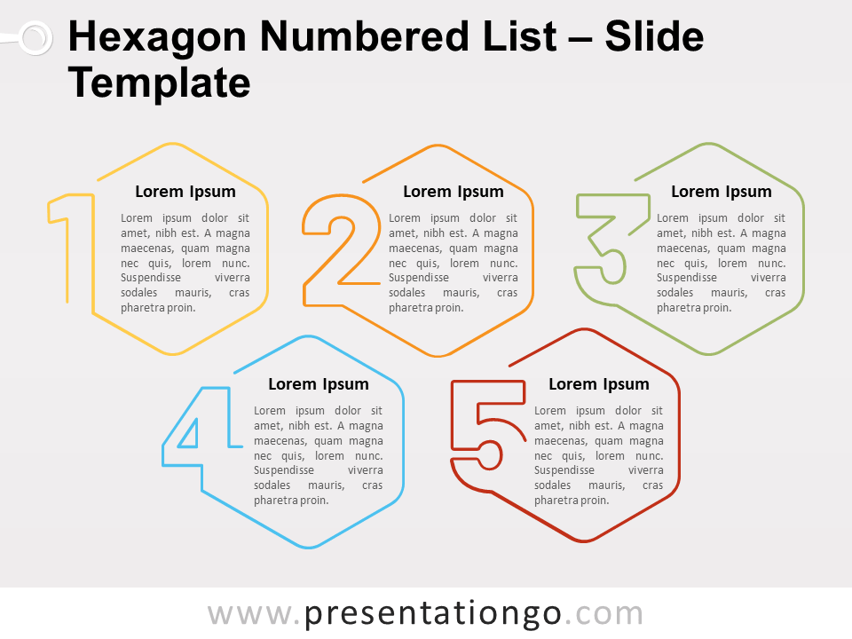 Free Hexagon Numbered List for PowerPoint