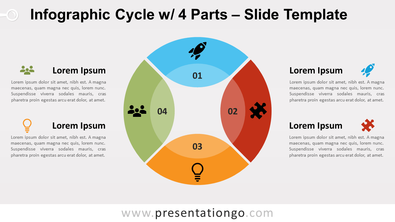 Free Infographic Cycle 4 Parts for PowerPoint and Google Slides