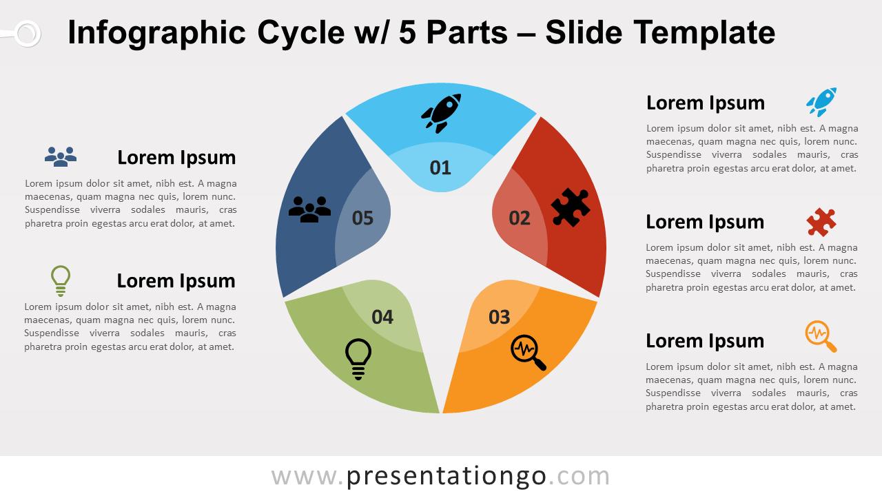Free Infographic Cycle with 5 Parts for PowerPoint and Google Slides