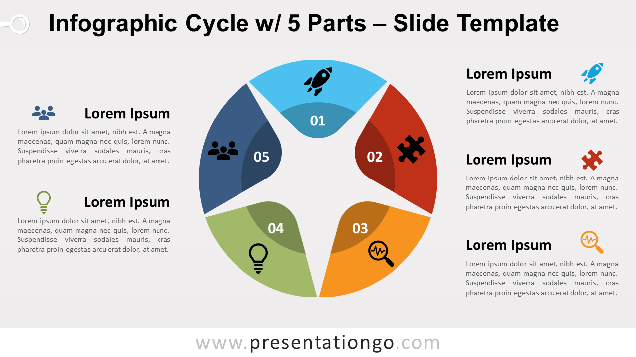 Free Infographic Cycle with 5 Parts for PowerPoint and GoogleSlides