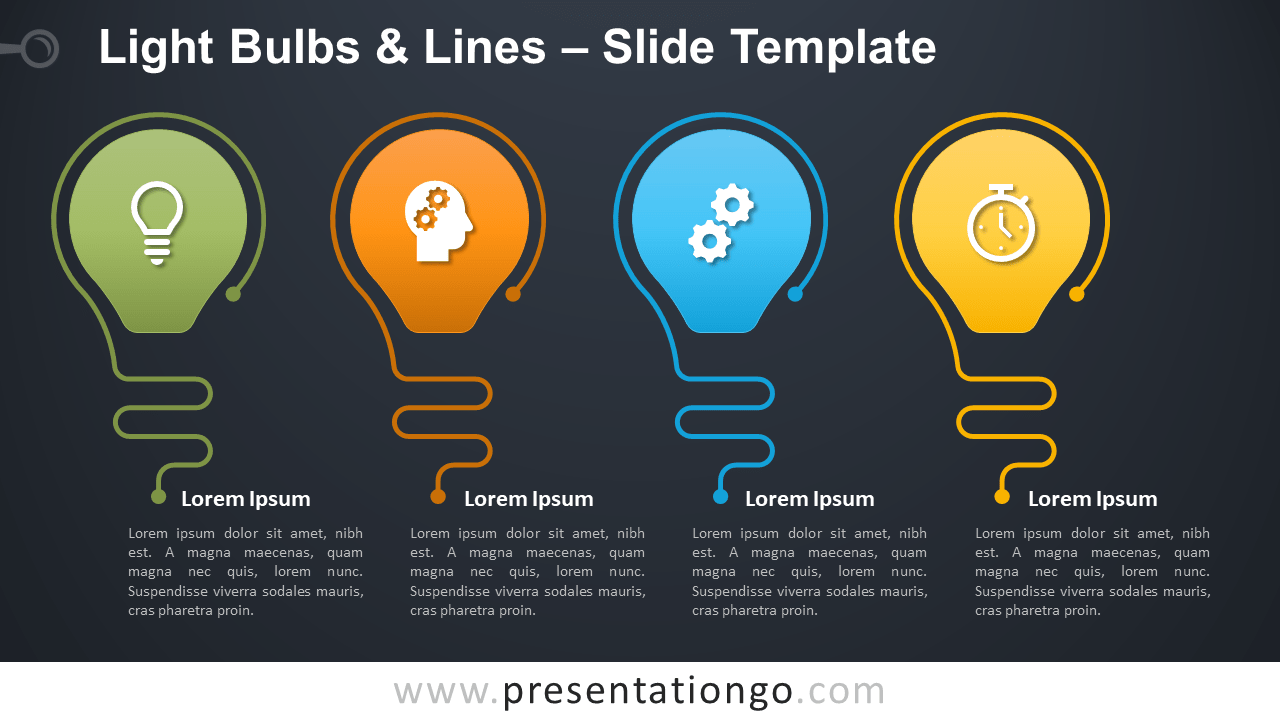 Free Light Bulbs and Lines Infographic for PowerPoint and Google Slides