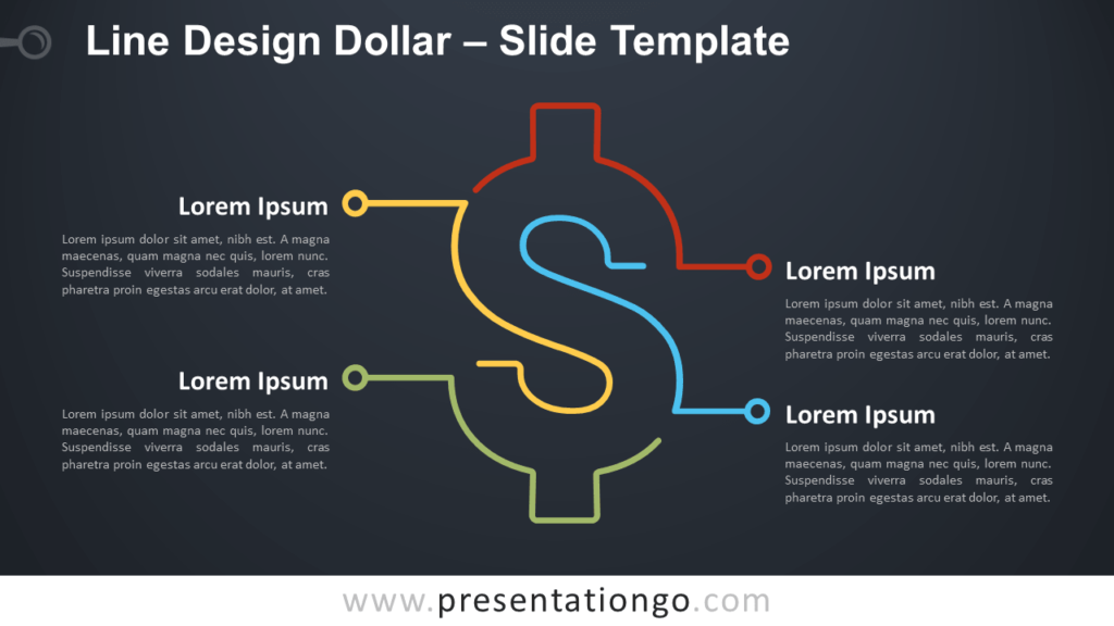 Free Line Design Dollar Infographic for PowerPoint and Google Slides