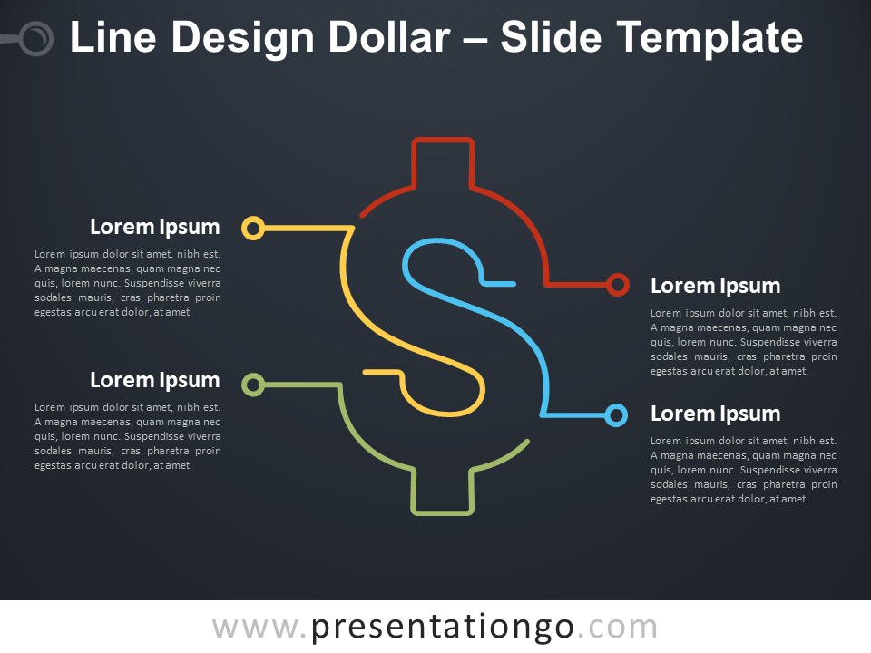 Free Line Design Dollar Infographic for PowerPoint
