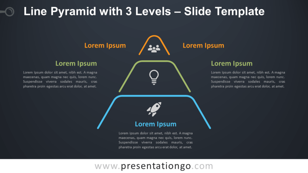 Free Line Pyramid 3 Levels Infographic for PowerPoint and Google Slides