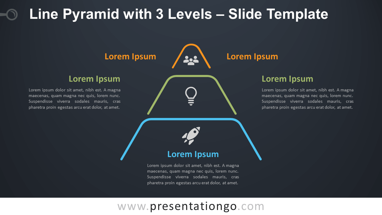 Free Line Pyramid with 3 Levels Infographic for PowerPoint and Google Slides