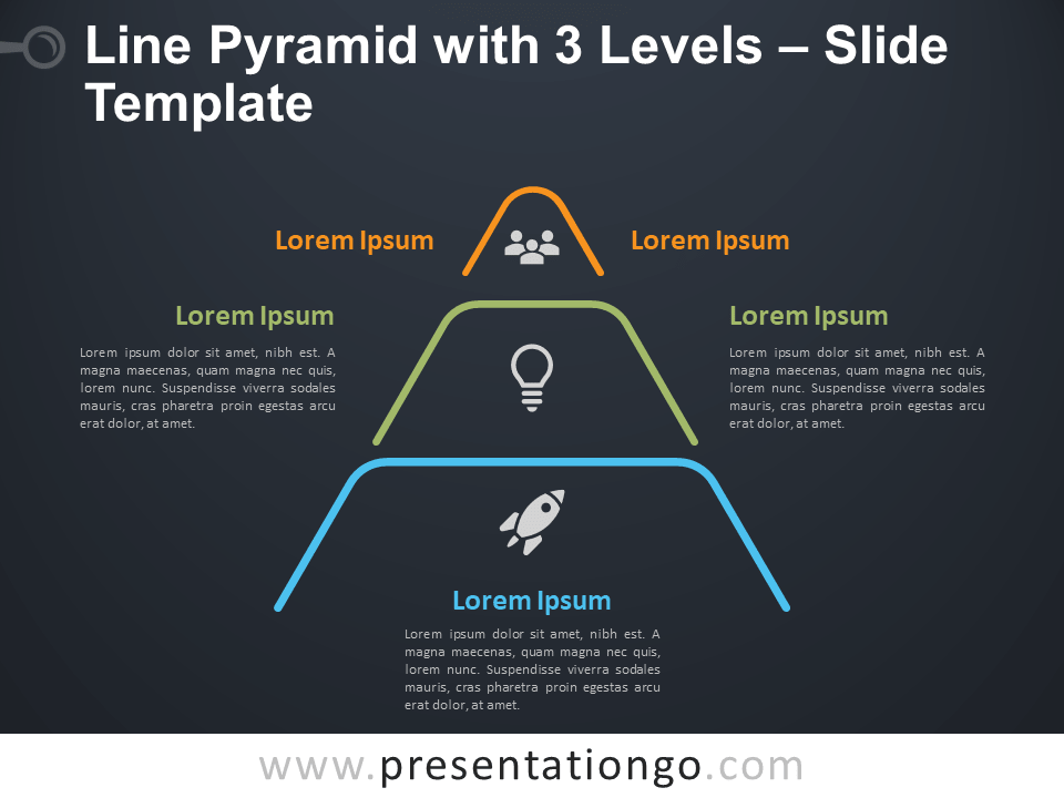 Free Line Pyramid 3 Levels Infographic for PowerPoint