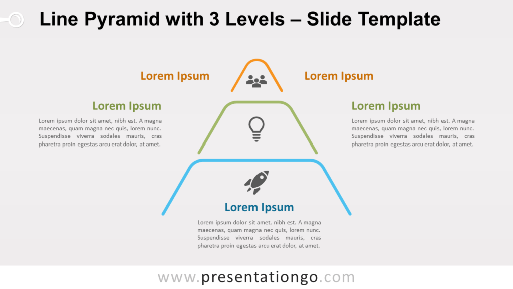 Free Line Pyramid 3 Levels for PowerPoint and Google Slides