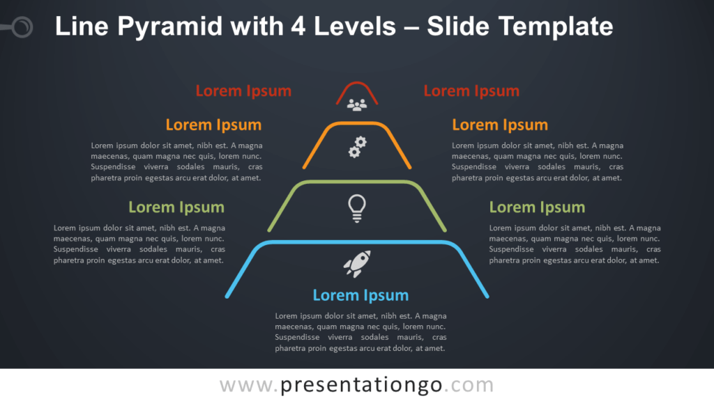 Free Line Pyramid 4 Levels Infographic for PowerPoint and Google Slides