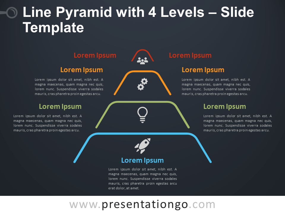 Free Line Pyramid 4 Levels Infographic for PowerPoint