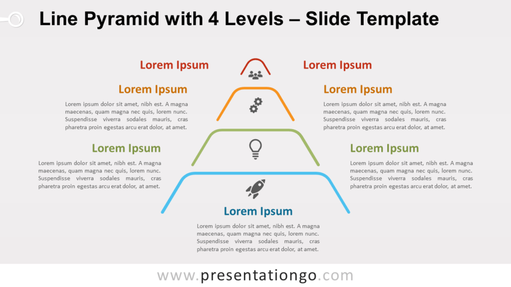 Free Line Pyramid 4 Levels for PowerPoint and Google Slides