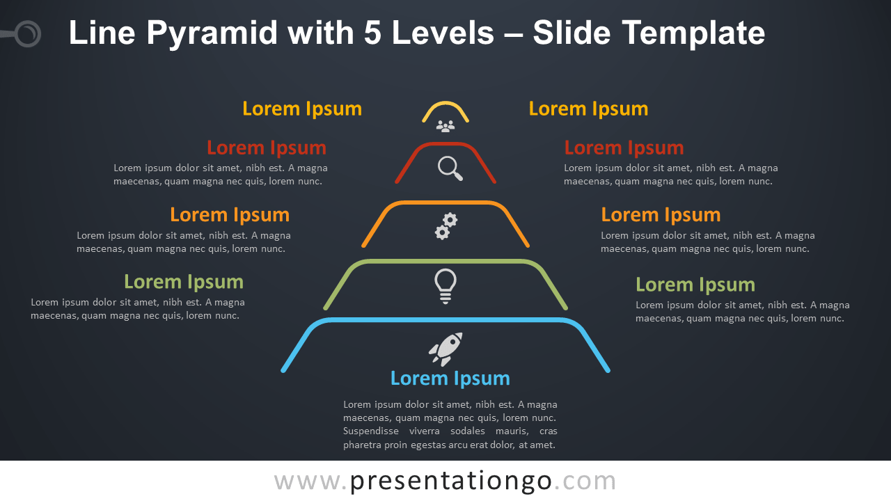 Free Line Pyramid with 5 Levels Infographic for PowerPoint and Google Slides