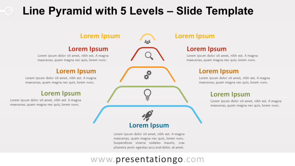 Free Line Pyramid 5 Levels for PowerPoint and Google Slides