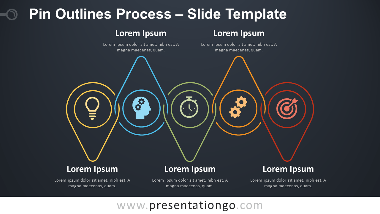 Free Pin Outlines Process Infographic for PowerPoint and Google Slides