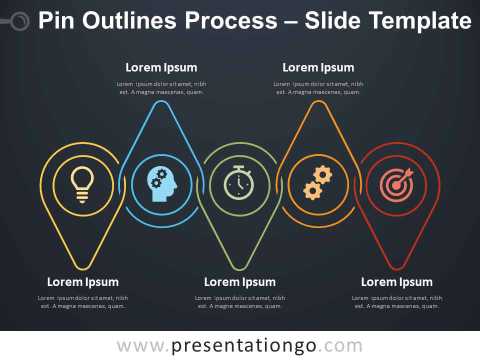 Free Pin Outlines Process Infographic for PowerPoint