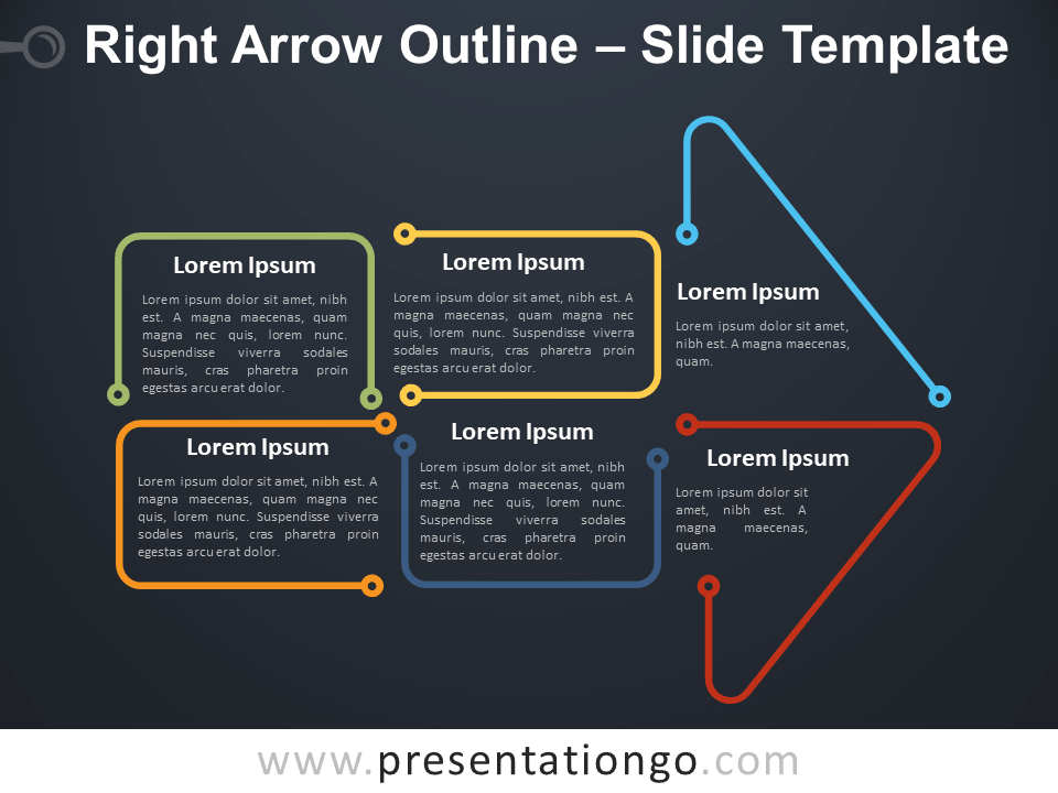 Free Right Arrow Outline Infographic for PowerPoint