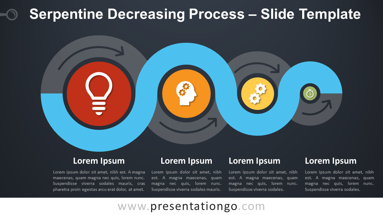 Free Serpentine Decreasing Process Infographic for PowerPoint and Google Slides