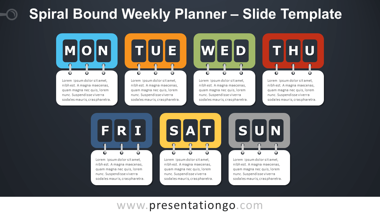 Free Spiral Bound Weekly Planning Infographic for PowerPoint and Google-Slides